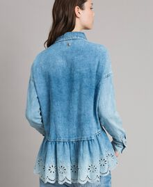 Denim shirt with broderie anglaise and flounce Denim Blue Woman 191MP2018-03