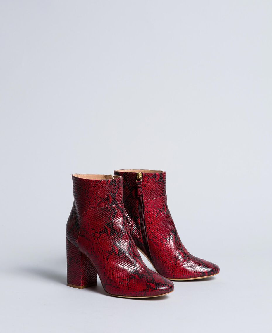 Animal print leather ankle boots Burgundy Python Woman CA8PL5-02
