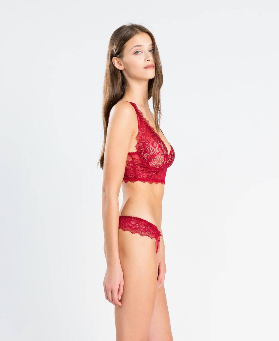 """Tulle plumetis and lace thong """"Reddish"""" Red Woman LA8A88-02"""