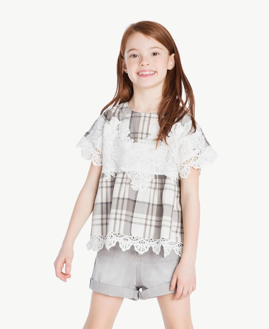 Lace blouse Chantilly Jacquard Check / Smoke Grey Child GS82JR-02