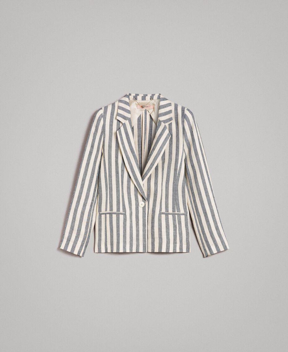 "Two-tone striped linen jacket Two-tone Black / ""Marzipan"" Beige Woman 191TT2310-0S"