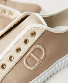 Satin trainers with logo Incense Beige Woman 211TCT118-04