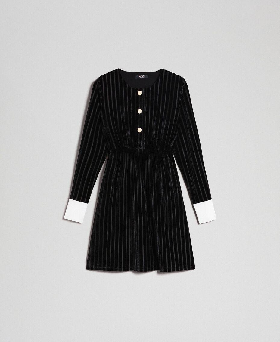 Robe en velours dévoré effet rayé Noir Femme 192MP2250-0S