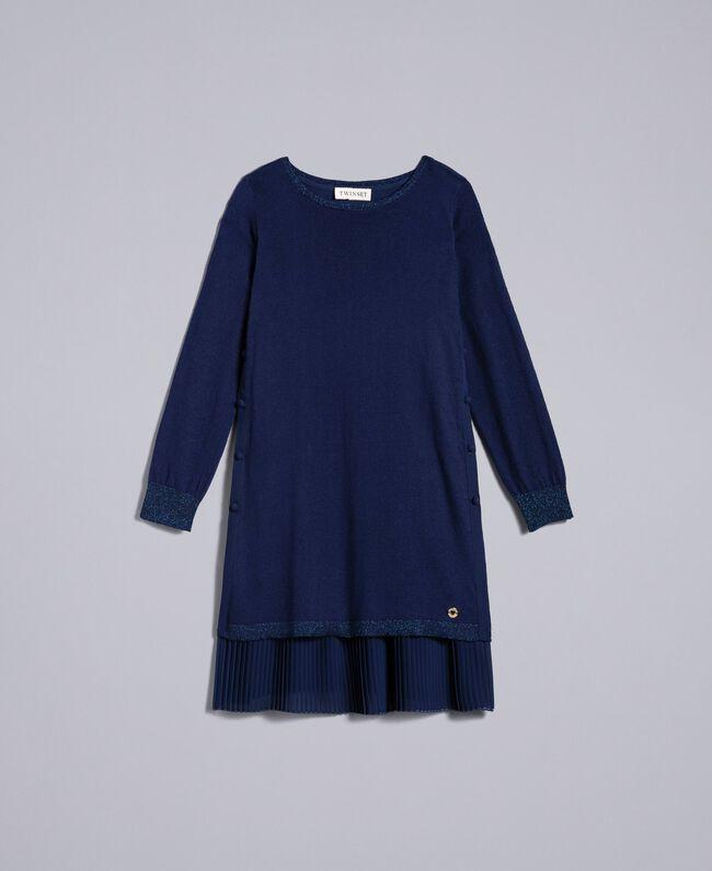 Strickkleid und Unterkleid aus Jersey Blackout Blau Kind GA83B2-01