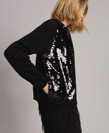 Sweatshirt with hood and sequins Black Woman 191MP2076-02