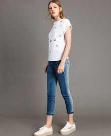 T-shirt with embroidery and appliqués White Cream Woman 191MP2063-03