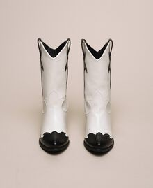 Faux leather two-tone Texas boots Two-tone Lily / Black Woman 201MCP050-05