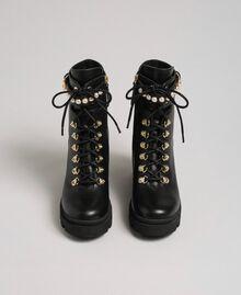 Schnürstiefelette aus Leder mit hohem Absatz und Perlen Schwarz Frau 192TCP01C-04