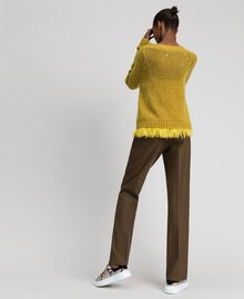"Mohair jumper and feathered top ""Wasabi"" Yellow Woman 192TT3275-04"