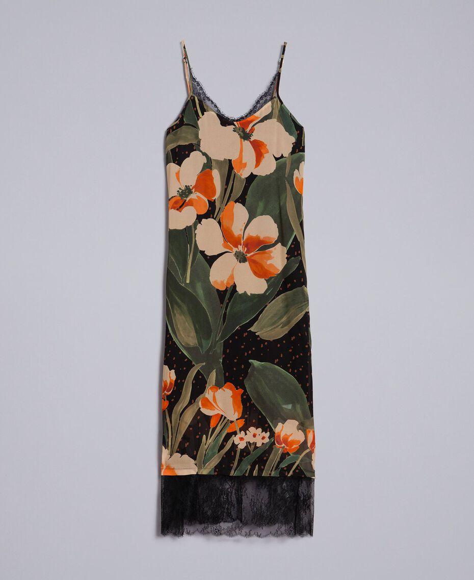 """Kleid im Unterkleidstil aus bedrucktem Georgette Print """"Schwarze Maxitulpe"""" Frau TA828U-0S"""