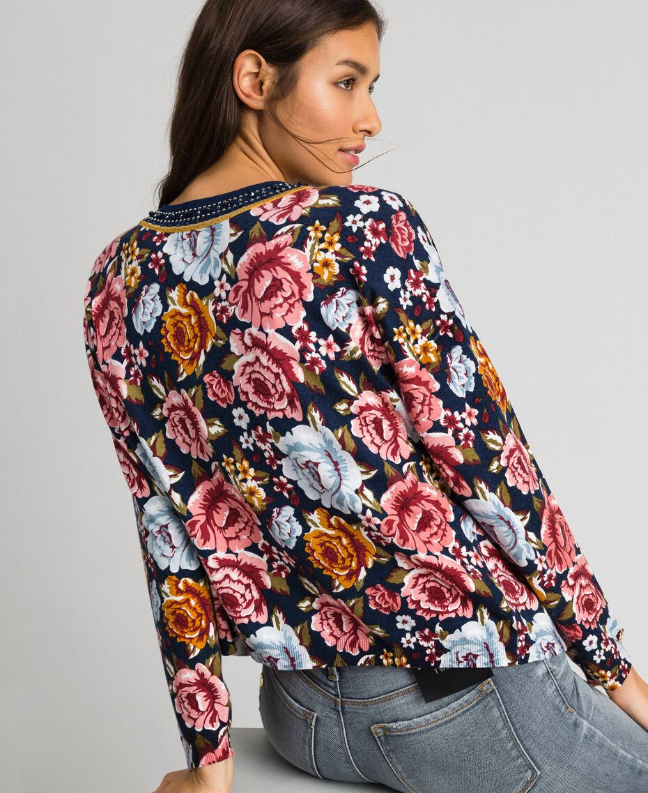 Dual use boxy jumper with rhinestones Black / Lily Animal Print Woman 192MP3230-05