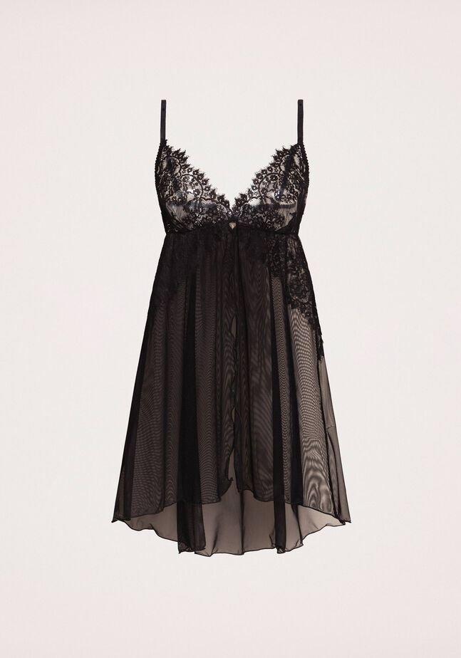 Tulle and lace babydoll slip