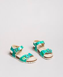 """Laminated leather sandals Blue Clear """"Water"""" Child 191GCJ162-02"""