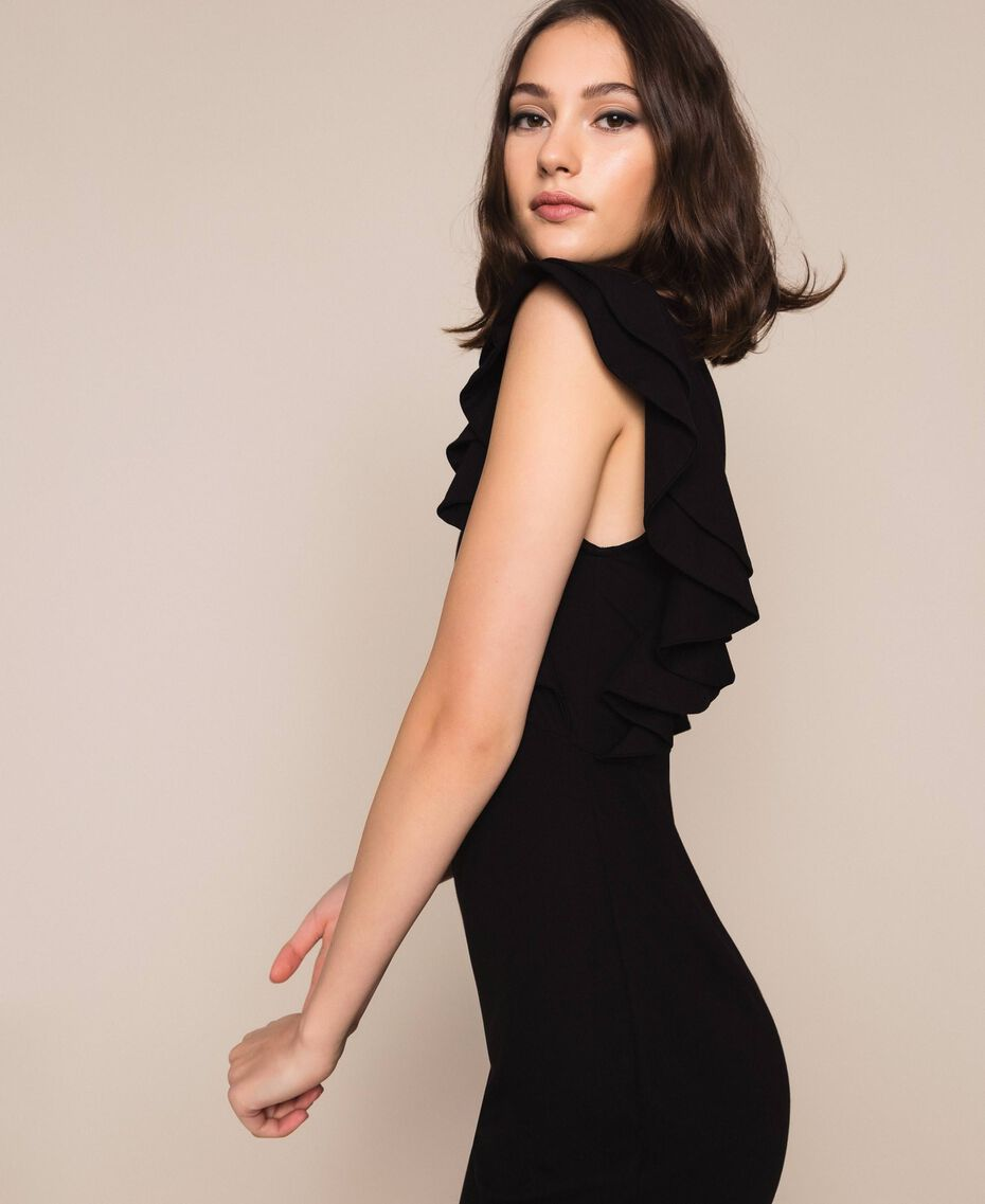 Sheath dress with frills Black Woman 201ST2149-02