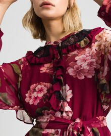 Floral print creponne shirt dress Beet Red Geranium Print Woman 192TP2728-05