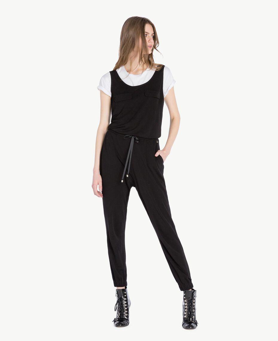 Jersey jumpsuit Black Woman PS82EN-01
