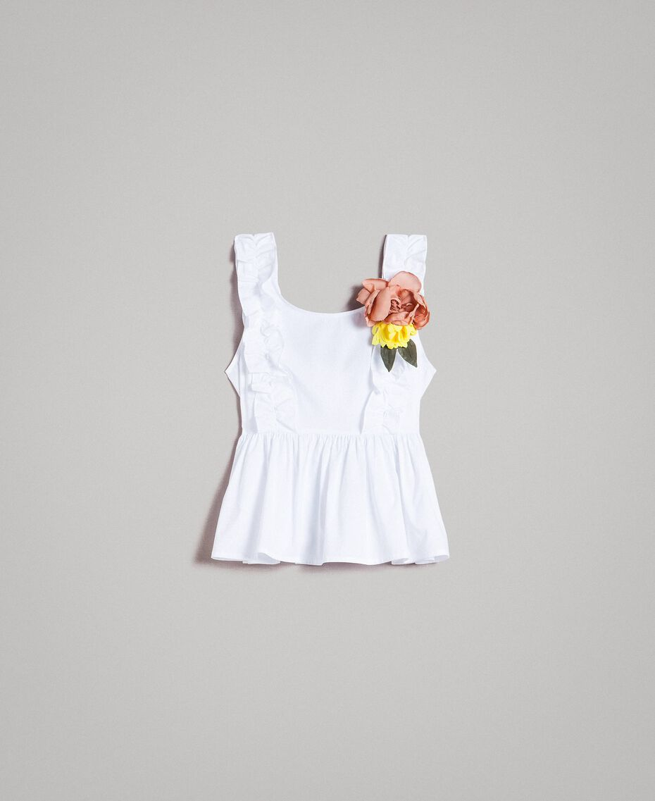 Poplin top with ruches and brooch White Woman 191MT2051-0S