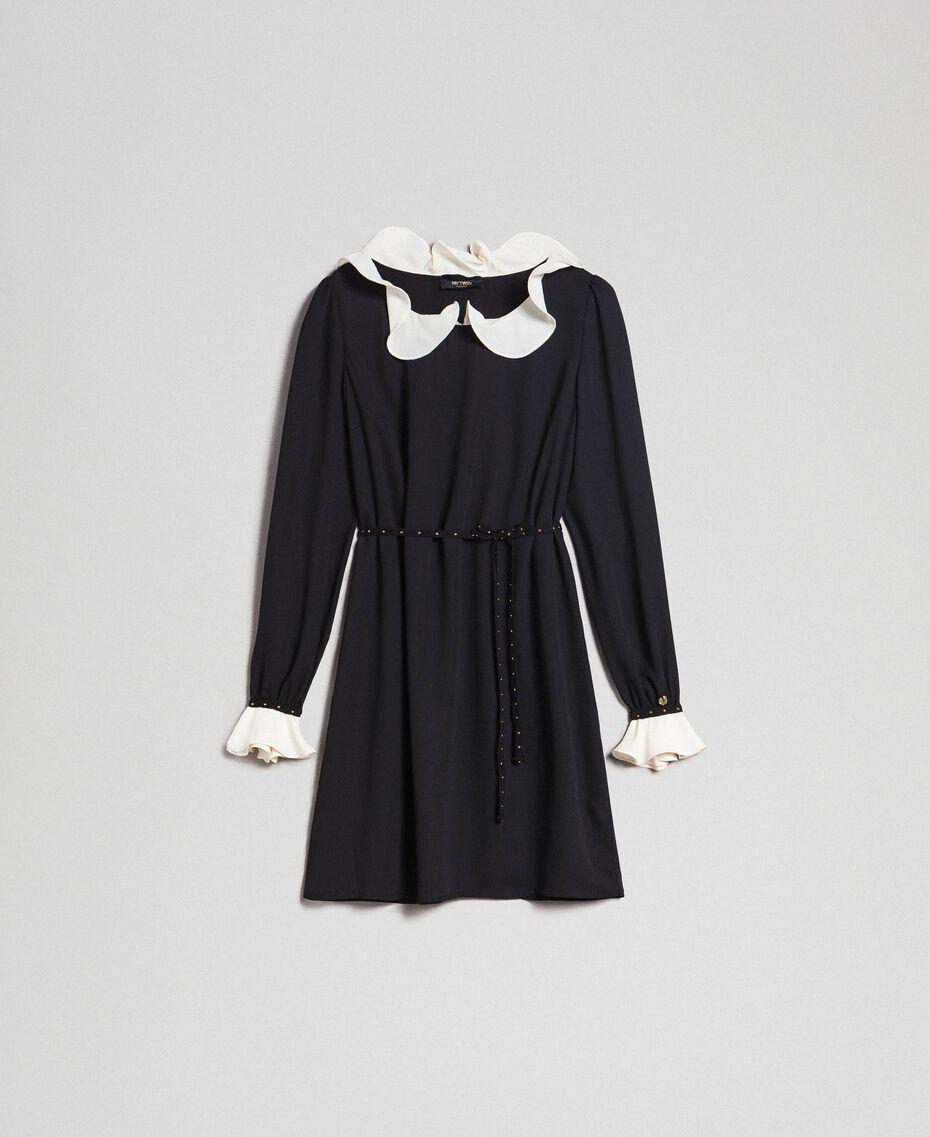 Robe en crêpe de Chine avec volant Noir Femme 192MP2164-0S