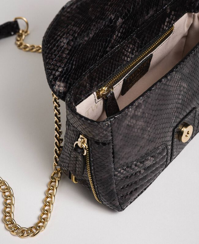 "Small Rebel shoulder bag with python print ""Anthracite"" Grey Python Print Woman 192TA7231-05"