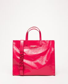 """Large leather shopper with logo """"Jazz"""" Pink Woman 201TO8090-04"""