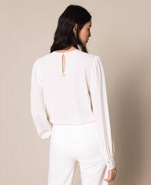 Body blouse body en soie mélangée Blanc Neige Femme 201TP2504-03