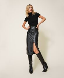 Leather high boots Black Woman 202TCT084-0S