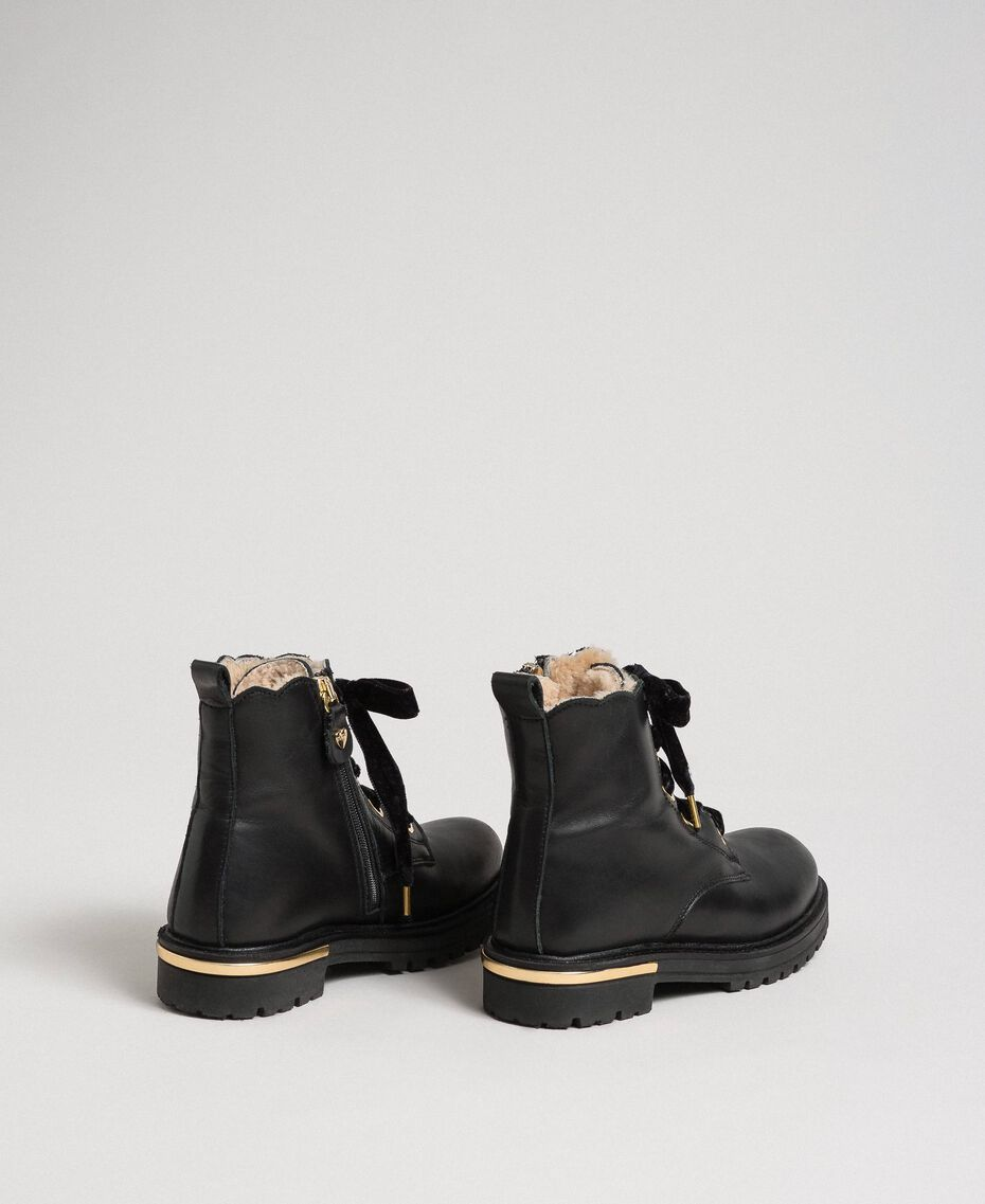 Leather ankle boots with shearling lining Black Child 192GCJ044-03