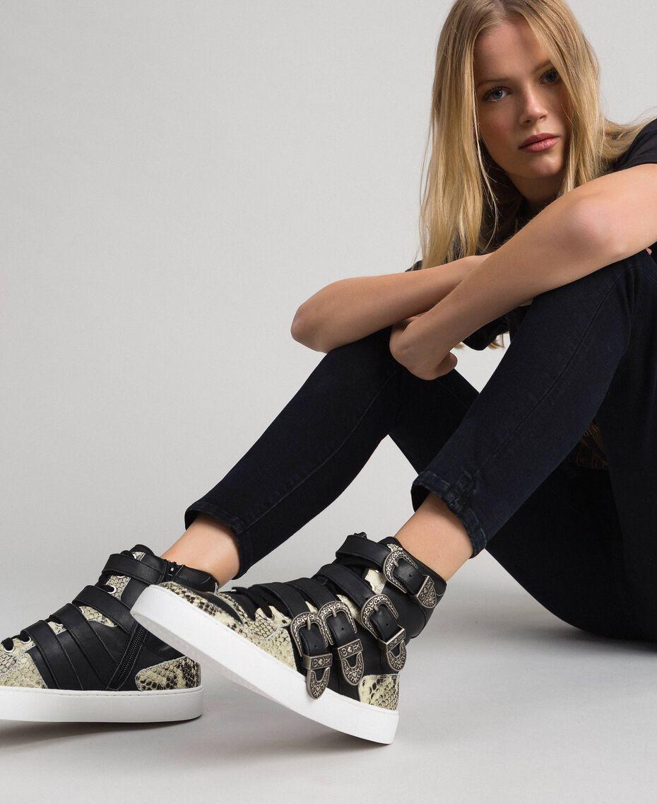 Sneakers alte con cinturini e inserti animalier Nero Donna 192TCT080-0S