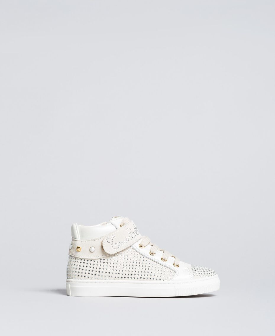Sneakers in pelle e strass Off White Bambina HA86DA-02