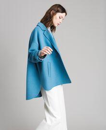 Caban en tissu de laine double Bleu Mykonos Clair Femme 191TP2481-01