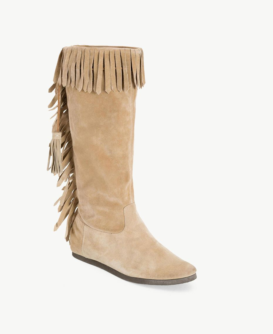 "TWINSET Fringed boots ""Dune"" Beige Woman CS8TAU-02"