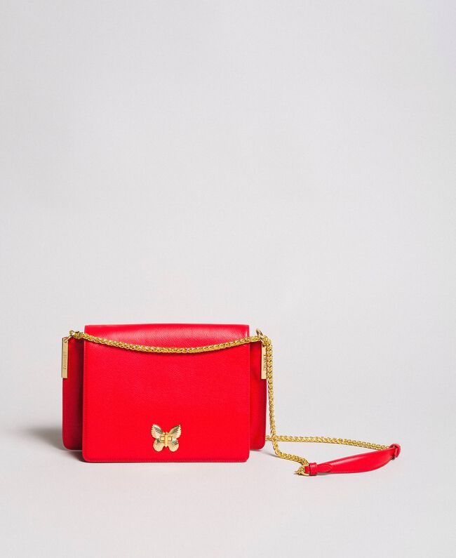 """Large leather shoulder Bea bag """"Ruby Butterfly"""" Red Woman 191TA7140-01"""