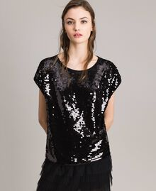 Sequined T-shirt Black Woman 191MP206G-01