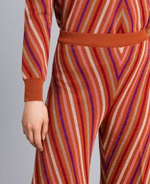"""Pantaloni jacquard a righe lurex multicolor Jacquard Riga Lurex Arancione """"Bruciato"""" Donna TA838A-04"""