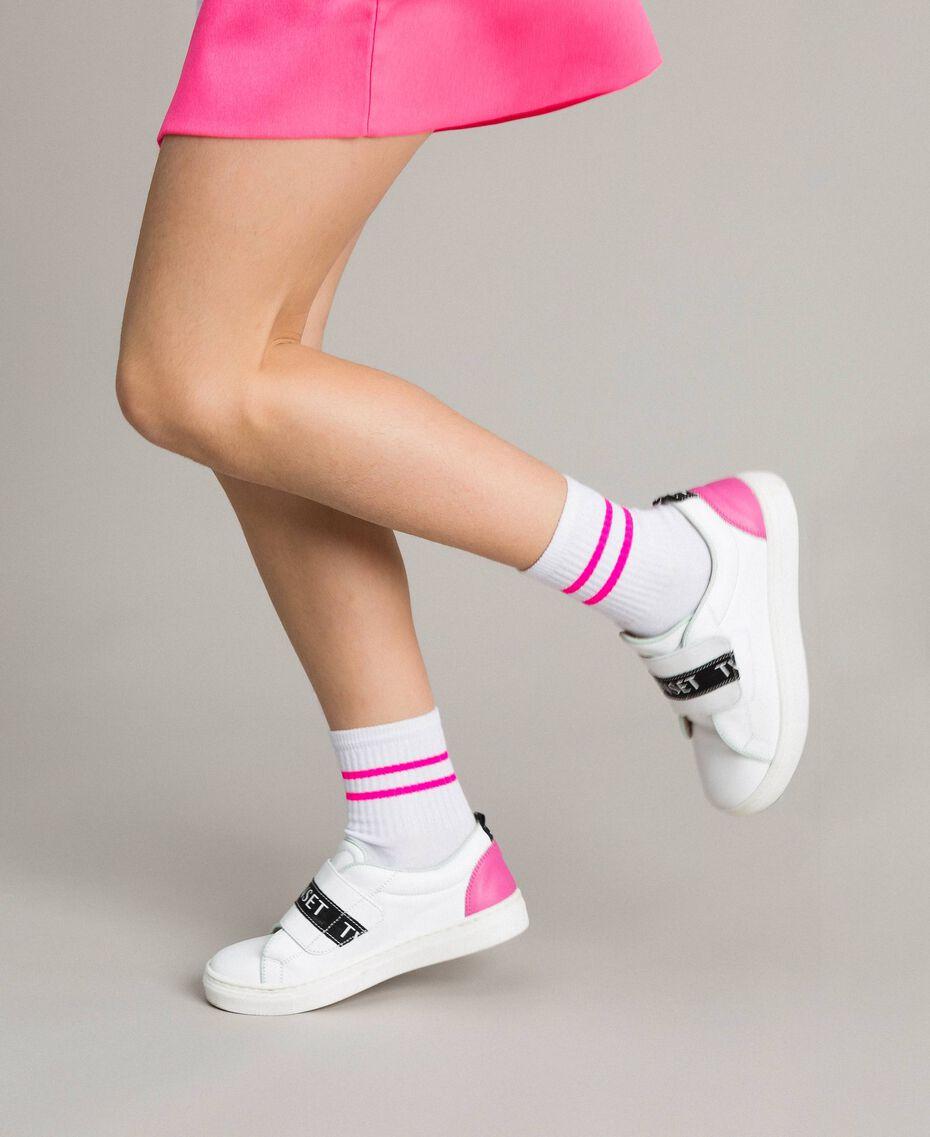 Striped cotton socks Two-tone Optical White / Neon Pink Child 191GJ4922-0S