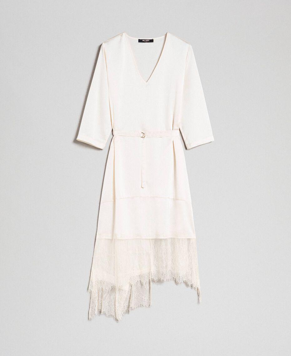 Robe en satin avec volants et dentelle Blanc Vanille Femme 192MP213A-0S