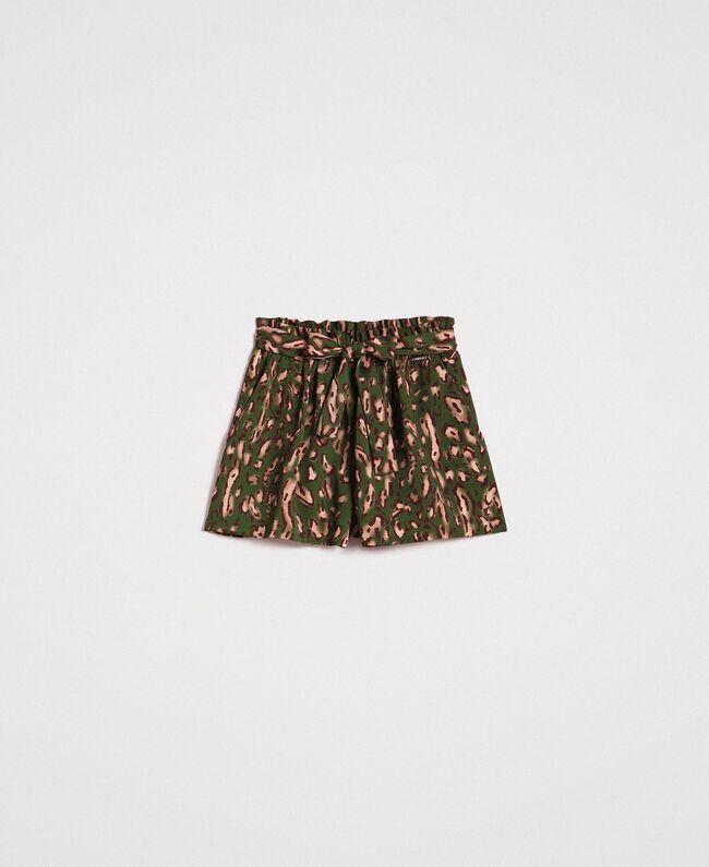 Shorts mit Tiermuster Motiv Tiere Amazonasgrün Frau 191LM2UJJ-0S