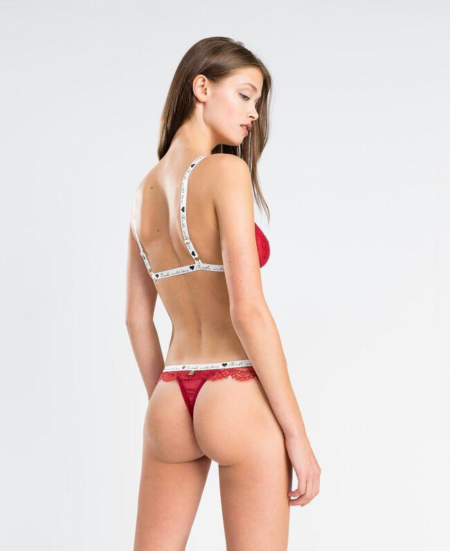 String en dentelle avec élastique contrasté Rougeâtre Femme LA8F88-03