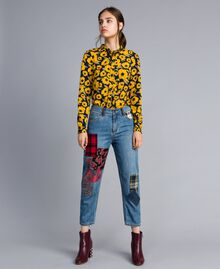 Girlfriend denim jeans with patches Denim Blue Woman YA82XA-01