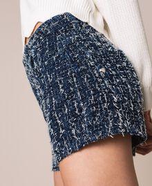 Denim shorts with bouclé Denim Blue Woman 201MP234C-04