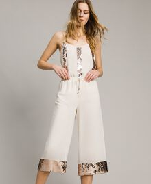 """Cropped trousers with sequins """"Milkway"""" Beige Woman 191LM2CBB-01"""