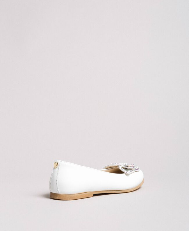 Leather ballerina shoes with butterfly White Child 191GCJ134-03