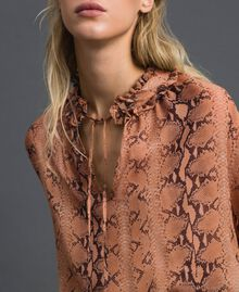 Animal print georgette blouse Canyon Pink Python Print Woman 192TT2272-04