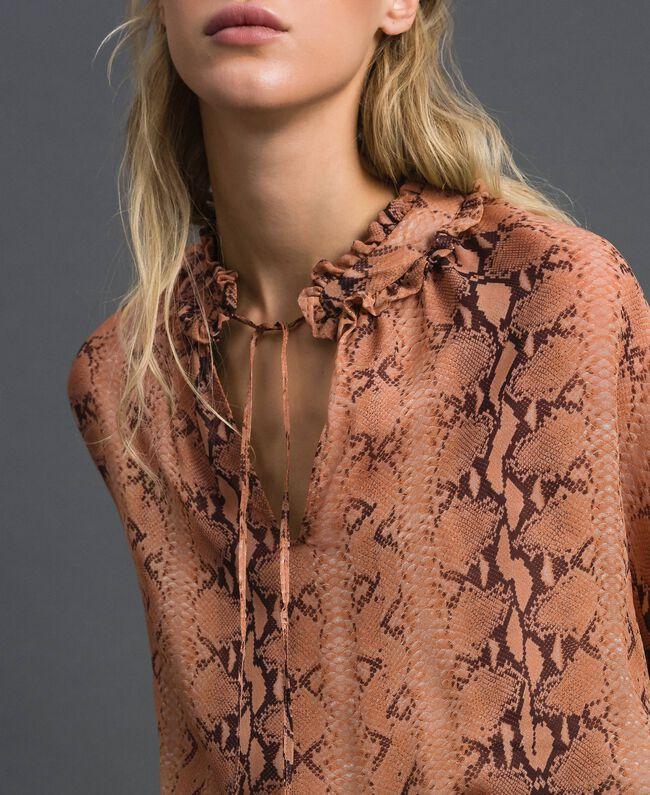 Animal print georgette blouse Canyon Pink Python Print Woman 192TT2272-04