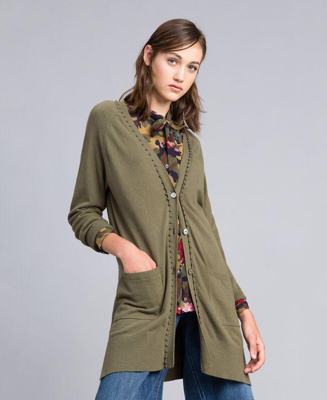 Long cardigan with pearls Alpine Green Woman JA8314-01