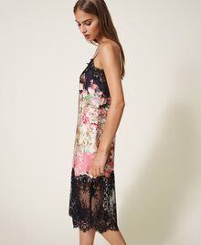 Printed satin slip dress with lace Animal Print Woman 202LL2EJJ-02