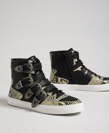 High top trainers with straps and animal print inlays Black Woman 192TCT080-02