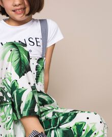 Tropical print jumpsuit/trousers Green Polka Dot Tropical Print / Vichy Child 201GJ2301-04