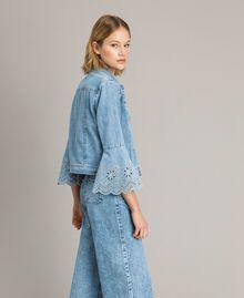 Blouson slim en jean avec broderie anglaise Bleu Denim Femme 191MP2430-02
