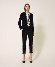 Pinstripe effect regular jeans Black Denim Woman 202MP2231-0T